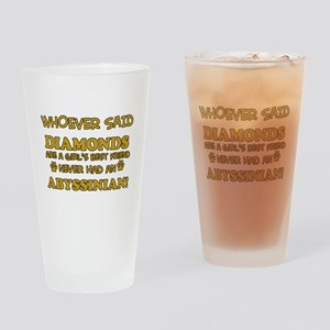 Abyssinian cat vector designs Drinking Glass