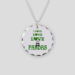 Love Love Pandas Necklace Circle Charm