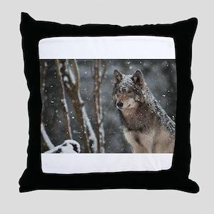 Snowy Lone Wolf Throw Pillow