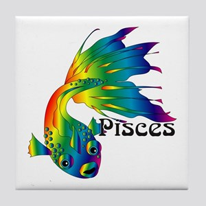 Whimsical Pisces Tile Coaster
