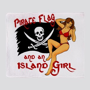 pirate girl Throw Blanket