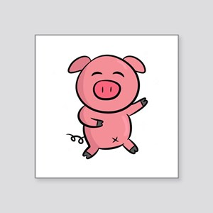 Cute and Happy Pink Piggy with Sparkles of Light S