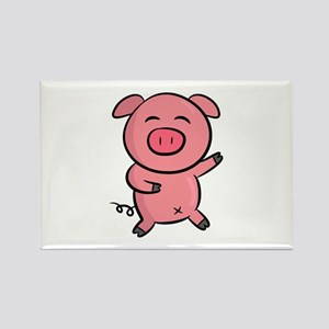 Cute and Happy Pink Piggy with Sparkles of Light R