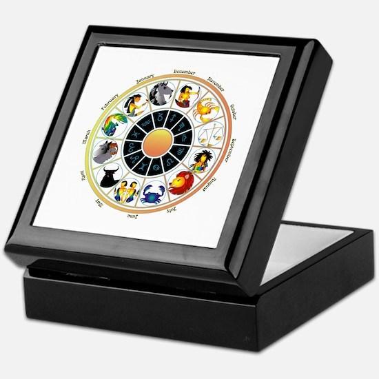 Whimsical Zodiac Wheel Keepsake Box