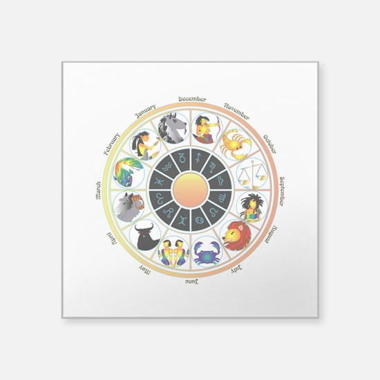 "Whimsical Zodiac Wheel Square Sticker 3"" x 3"""