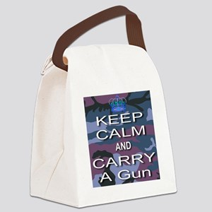 Keep Calm and Carry A Gun Canvas Lunch Bag