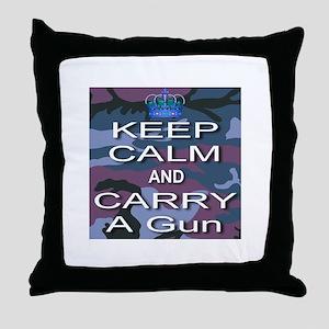 Keep Calm and Carry A Gun Throw Pillow