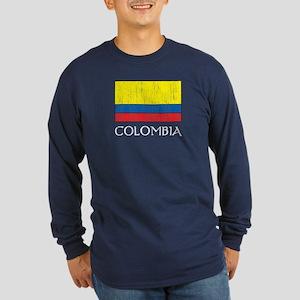 Columbia Flag Long Sleeve Dark T-Shirt