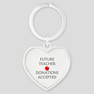 Future Teacher - Donations Accepted Heart Keychain