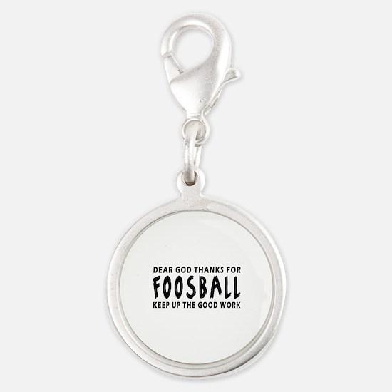 Dear God Thanks For Foosball Silver Round Charm