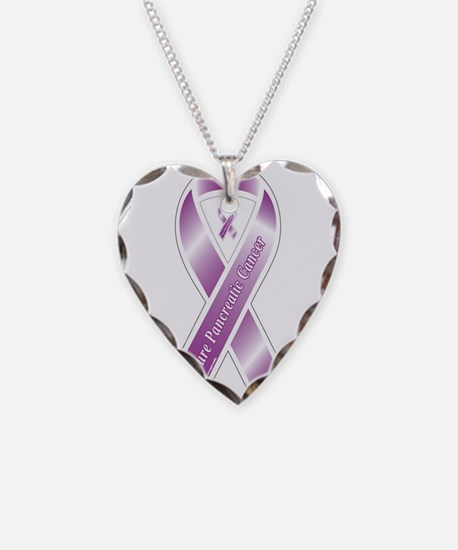 Pancreatic Cancer Ribbon Necklace