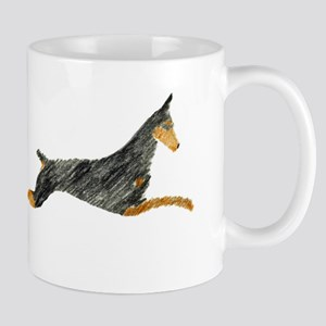 Leaping Black Doberman Mug