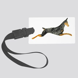 Leaping Black Doberman Large Luggage Tag