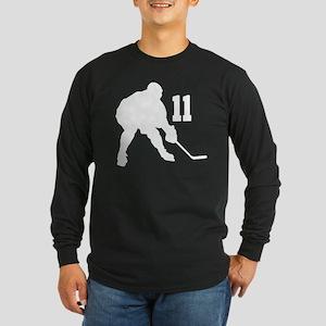 Hockey Player Number 11 Long Sleeve Dark T-Shirt