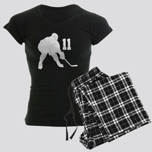 Hockey Player Number 11 Women's Dark Pajamas