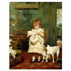 Girl with Dogs, 1893 Poster