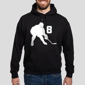 Hockey Player Number 8 Hoodie (dark)