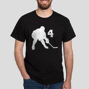 Hockey Player Number 4 Dark T-Shirt