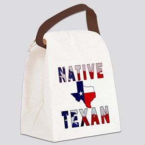 Native Texan Flag Map Canvas Lunch Bag