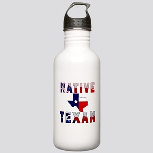 Native Texan Flag Map Water Bottle