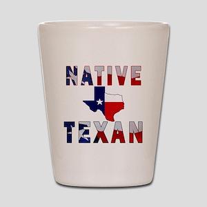 Native Texan Flag Map Shot Glass