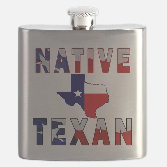 Native Texan Flag Map Flask