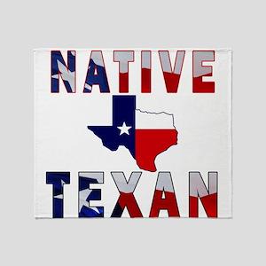 Native Texan Flag Map Throw Blanket