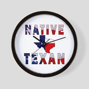 Native Texan Flag Map Wall Clock