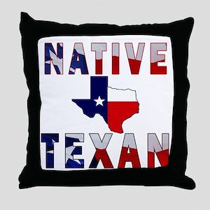 Native Texan Flag Map Throw Pillow