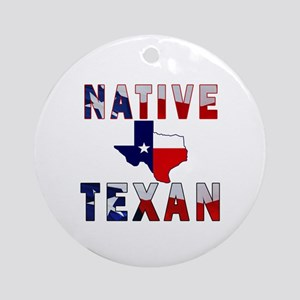 Native Texan Flag Map Ornament (Round)
