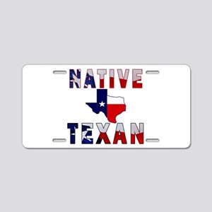 Native Texan Flag Map Aluminum License Plate