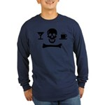 Beverage Jolly Roger Long Sleeve Navy Blue T-Shirt