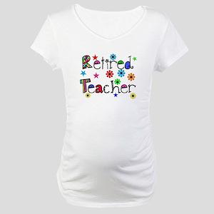 retired teacher stars flowers Maternity T-Shirt