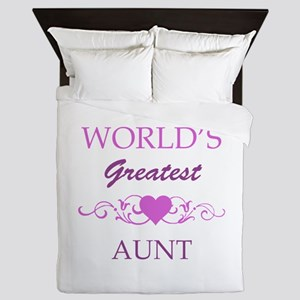 World's Greatest Aunt (purple) Queen Duvet