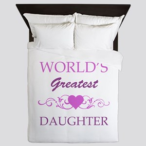 World's Greatest Daughter (purple) Queen Duvet