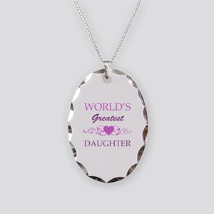World's Greatest Daughter (purple) Necklace Oval C