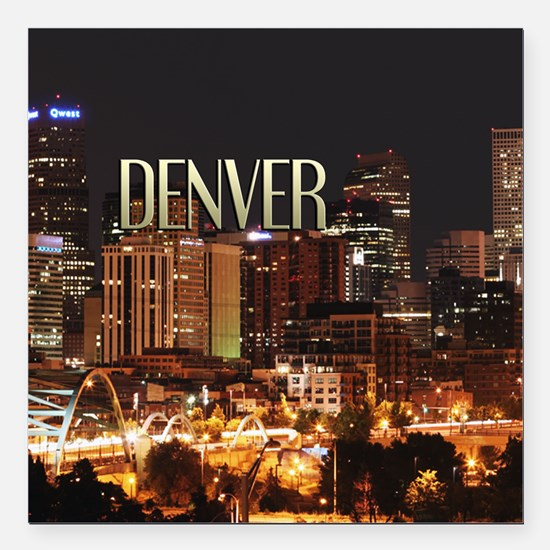 "Denver Colorado Square Car Magnet 3"" x 3&quot"