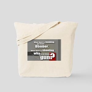 Blaming the gun? Tote Bag