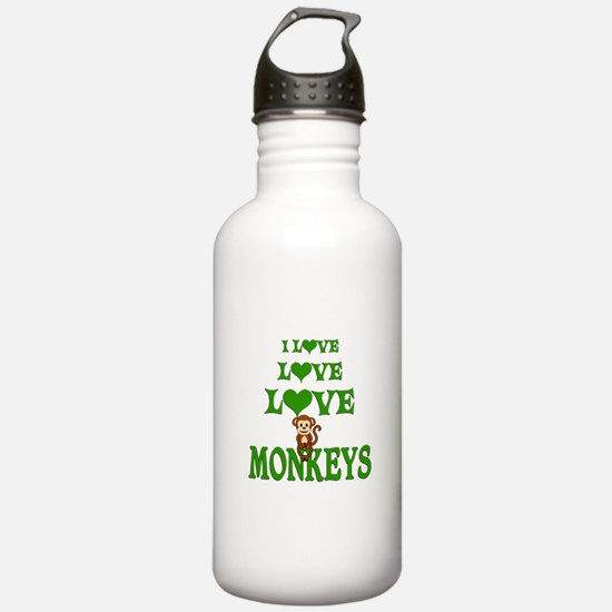 Love Love Monkeys Water Bottle