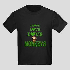 Love Love Monkeys Kids Dark T-Shirt