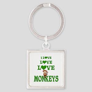 Love Love Monkeys Square Keychain