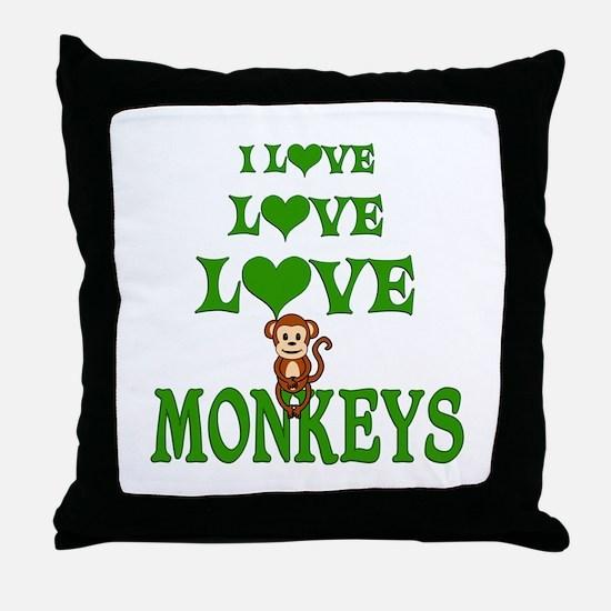 Love Love Monkeys Throw Pillow