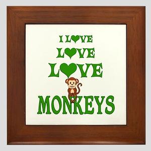 Love Love Monkeys Framed Tile