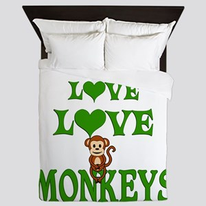 Love Love Monkeys Queen Duvet