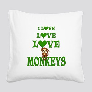 Love Love Monkeys Square Canvas Pillow