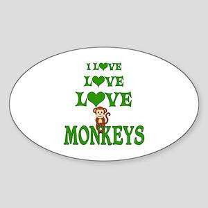 Love Love Monkeys Sticker (Oval)