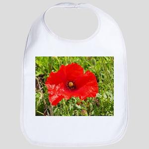 Red Poppy Flower Style 2 Bib