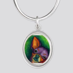 Lazy Chihuahua Silver Oval Necklace