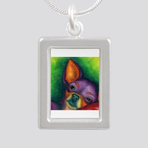 Lazy Chihuahua Silver Portrait Necklace