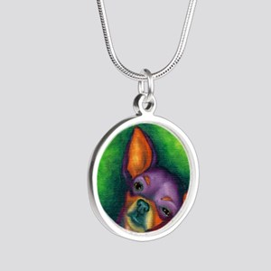 Lazy Chihuahua Silver Round Necklace